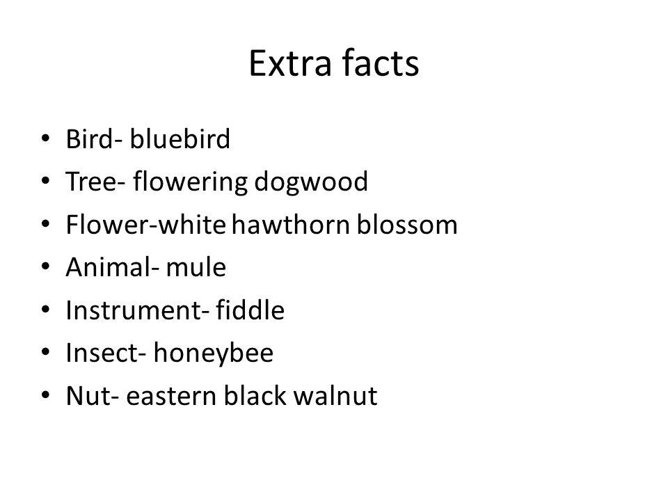 Extra facts Bird- bluebird Tree- flowering dogwood Flower-white hawthorn blossom Animal- mule Instrument- fiddle Insect- honeybee Nut- eastern black walnut