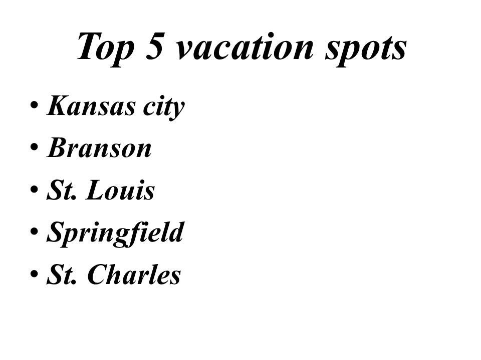 Top 5 vacation spots Kansas city Branson St. Louis Springfield St. Charles