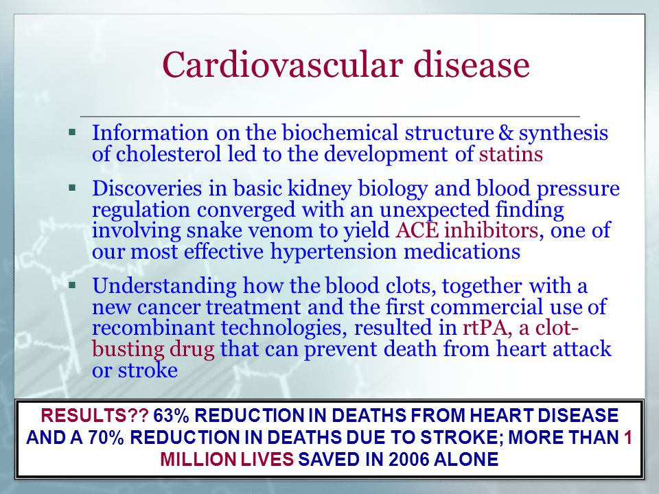Cardiovascular disease  Information on the biochemical structure & synthesis of cholesterol led to the development of statins  Discoveries in basic kidney biology and blood pressure regulation converged with an unexpected finding involving snake venom to yield ACE inhibitors, one of our most effective hypertension medications  Understanding how the blood clots, together with a new cancer treatment and the first commercial use of recombinant technologies, resulted in rtPA, a clot- busting drug that can prevent death from heart attack or stroke RESULTS .