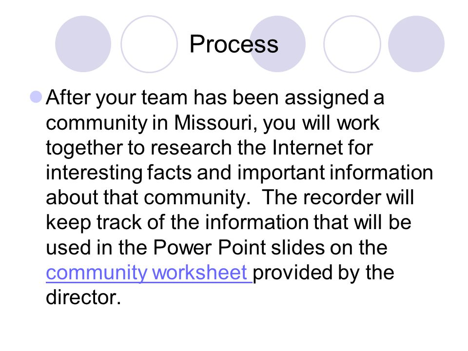 Process Once the information is gathered, teams will complete a rough draft on a Power Point slide layout sheet.