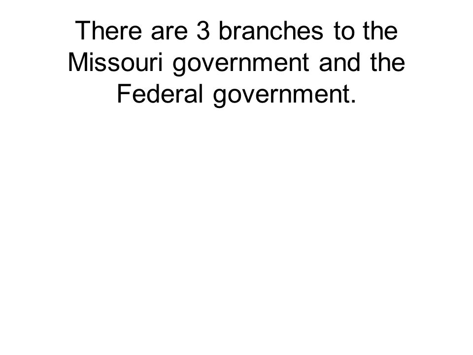 There are 3 branches to the Missouri government and the Federal government.