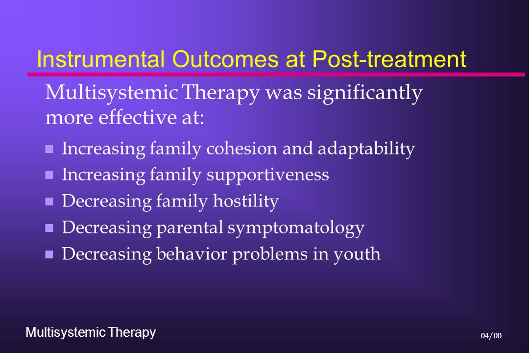 Multisystemic Therapy 04/00 Instrumental Outcomes at Post-treatment n Increasing family cohesion and adaptability n Increasing family supportiveness n Decreasing family hostility n Decreasing parental symptomatology n Decreasing behavior problems in youth Multisystemic Therapy was significantly more effective at:
