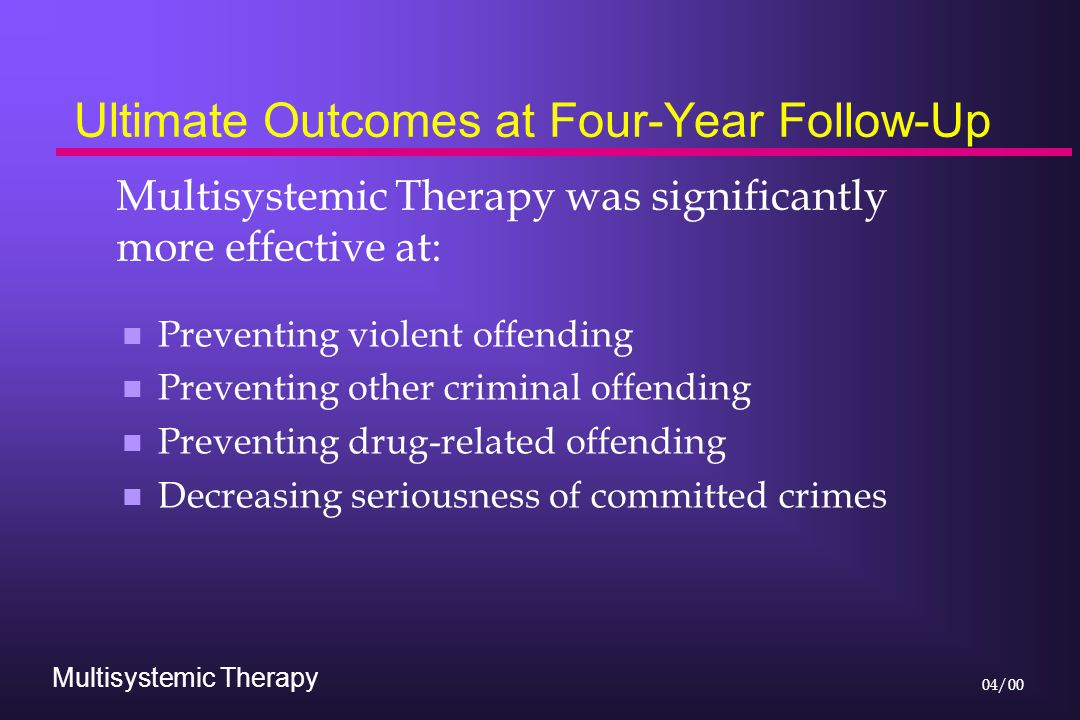 Multisystemic Therapy 04/00 Ultimate Outcomes at Four-Year Follow-Up n Preventing violent offending n Preventing other criminal offending n Preventing drug-related offending n Decreasing seriousness of committed crimes Multisystemic Therapy was significantly more effective at: