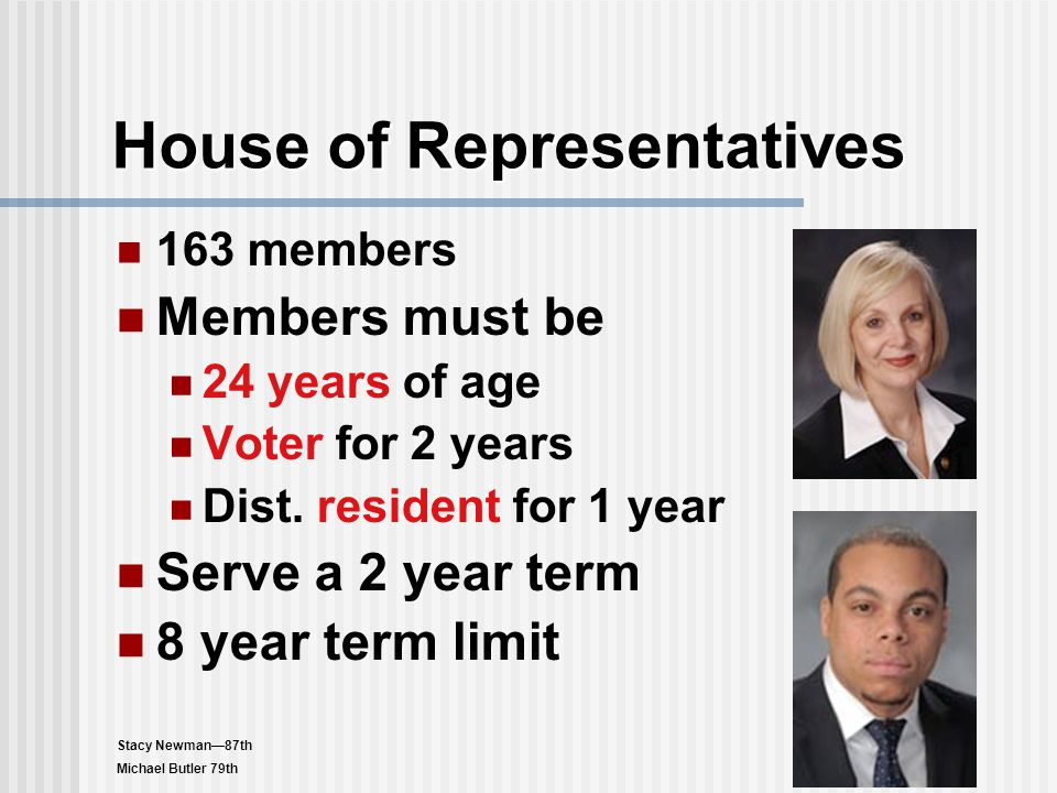 House of Representatives 163 members Members must be 24 years of age Voter for 2 years Dist. resident for 1 year Serve a 2 year term 8 year term limit