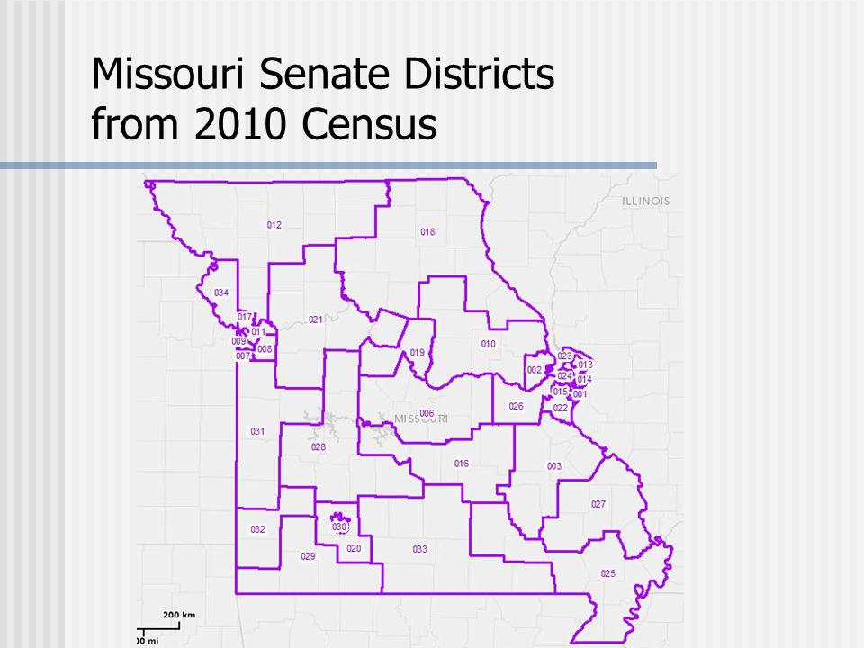 Missouri Senate Districts from 2010 Census