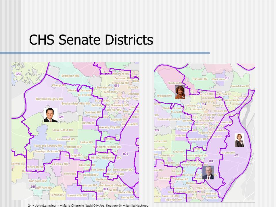 CHS Senate Districts 24 = John Lamping 14 = Maria Chapelle-Nadal 04= Jos. Keaveny 04 = Jamila Nasheed