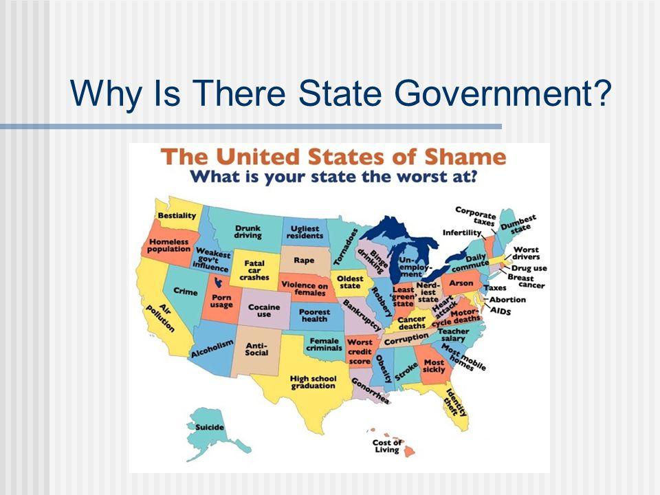 All States Have Police Power Under 10 th Amendment state governments and the people hold powers neither given to the Federal government nor prohibited to the states Residual powers broader than those of the Federal government States assumed to have all authority not prohibited in Federal or state constitutions Police Power: The principal state power--gives each state authority to provide for the health, morals, safety and welfare of its people.