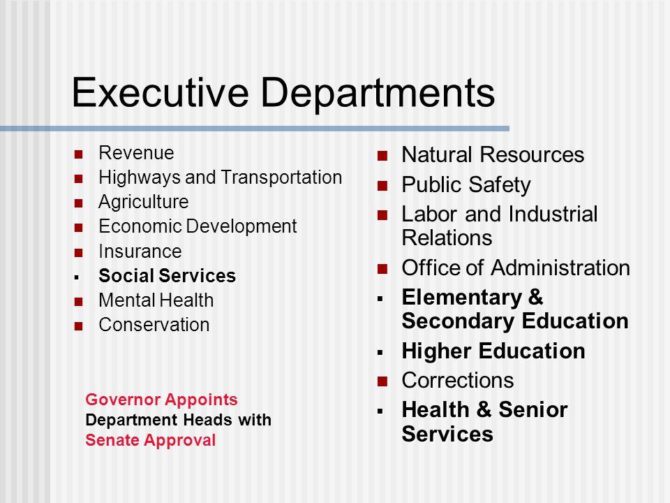Executive Departments Revenue Highways and Transportation Agriculture Economic Development Insurance  Social Services Mental Health Conservation Natu