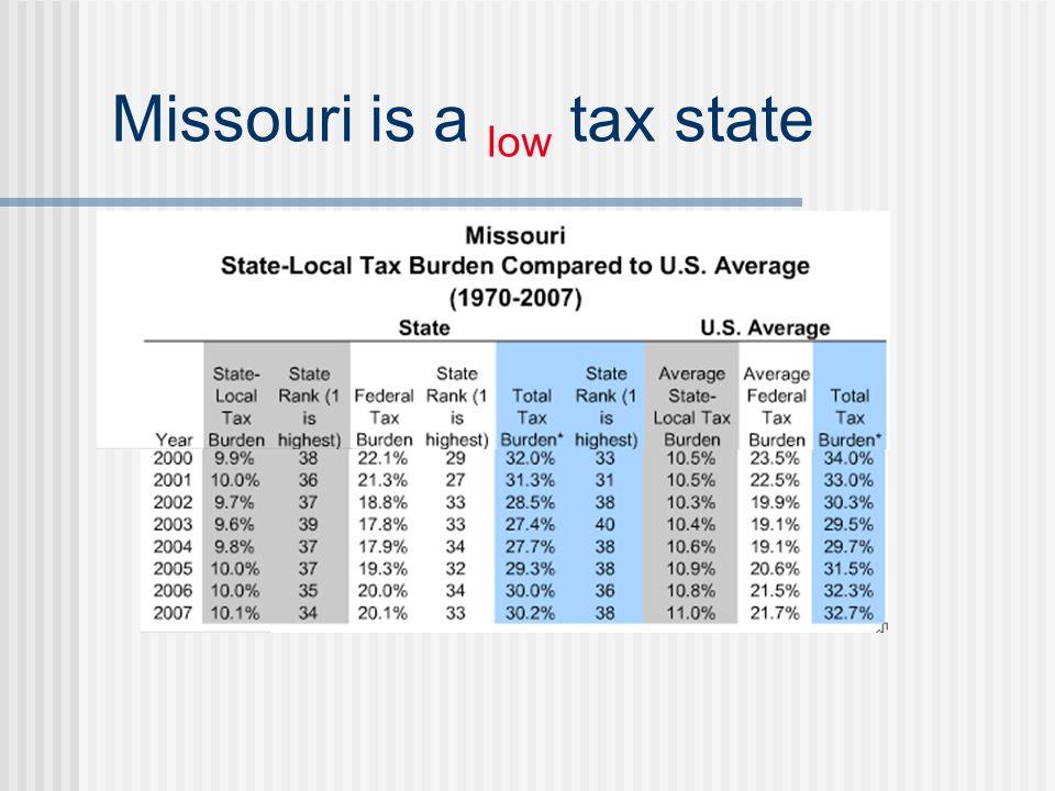 Missouri is a low tax state