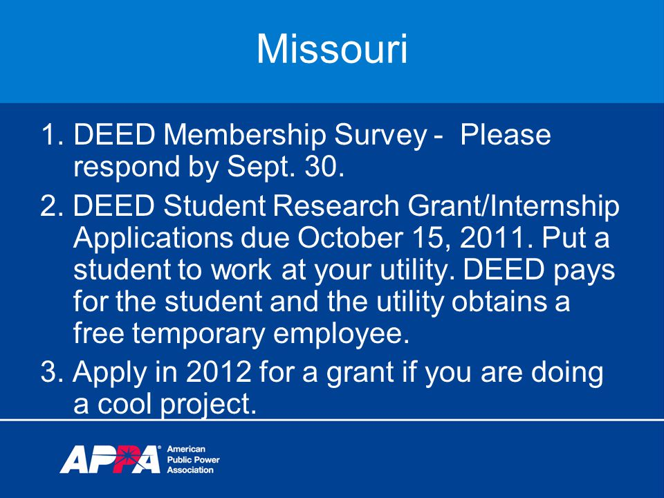 Missouri 1.DEED Membership Survey - Please respond by Sept.