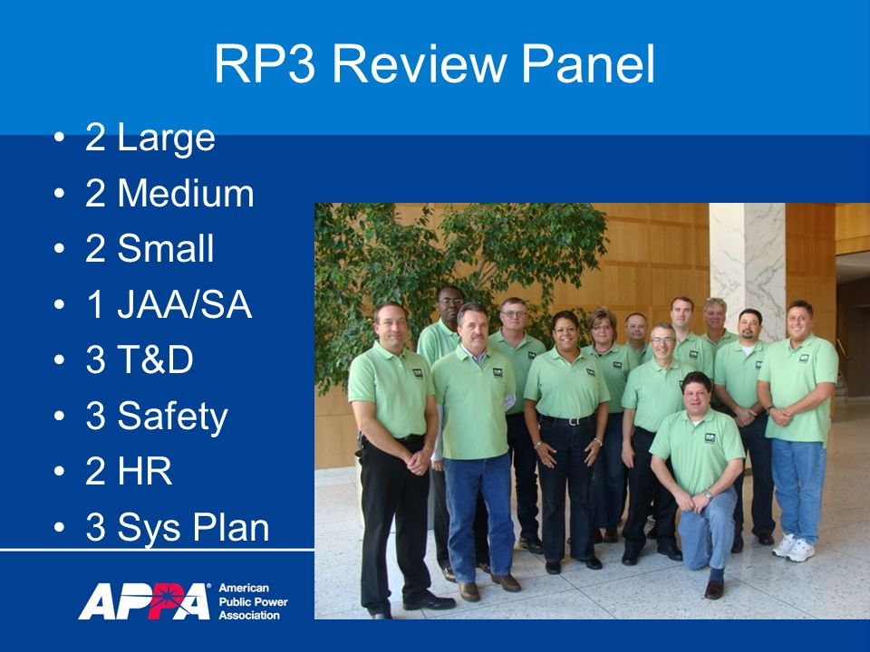 RP3 Review Panel 2 Large 2 Medium 2 Small 1 JAA/SA 3 T&D 3 Safety 2 HR 3 Sys Plan