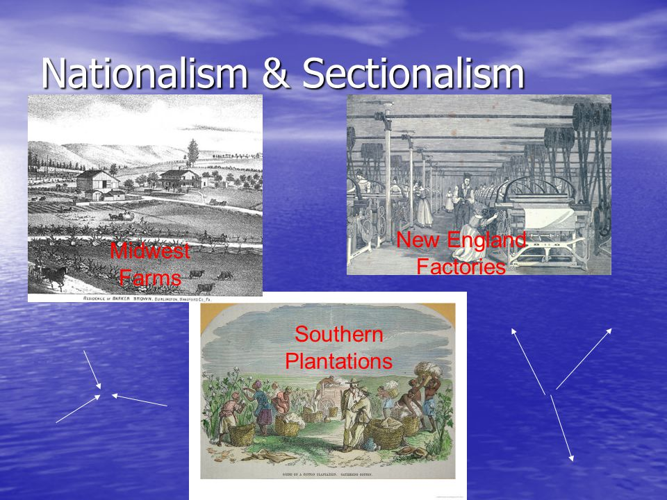 Nationalism & Sectionalism Midwest Farms New England Factories Southern Plantations