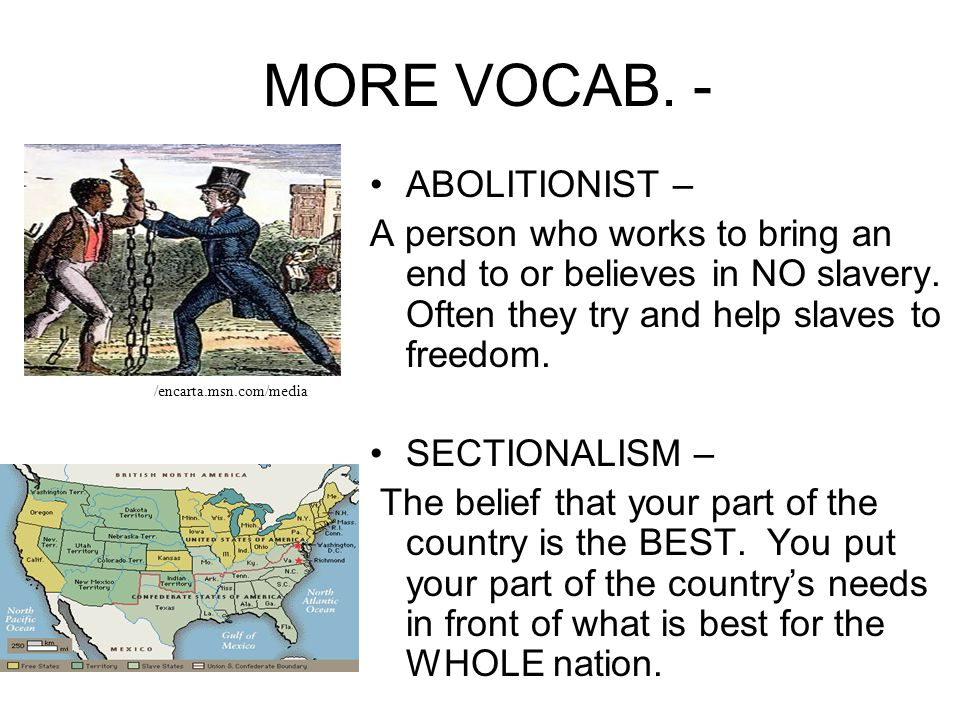 IMPORTANT VOCABULARY! POPULAR SOVEREIGNTY – A VOTE where the people decide on an issue. (I.E. – slavery) COMPROMISE – An agreement reached between two