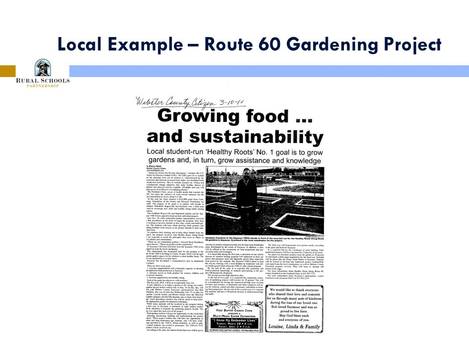 Local Example – Route 60 Gardening Project