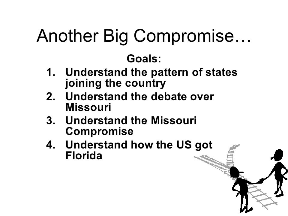 Another Big Compromise… Goals: 1.Understand the pattern of states joining the country 2.Understand the debate over Missouri 3.Understand the Missouri