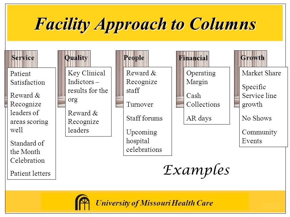 University of Missouri Health Care Facility Approach to Columns ServiceQualityPeopleGrowth Financial Examples Patient Satisfaction Reward & Recognize leaders of areas scoring well Standard of the Month Celebration Patient letters Key Clinical Indictors – results for the org Reward & Recognize leaders Reward & Recognize staff Turnover Staff forums Upcoming hospital celebrations Operating Margin Cash Collections AR days Market Share Specific Service line growth No Shows Community Events
