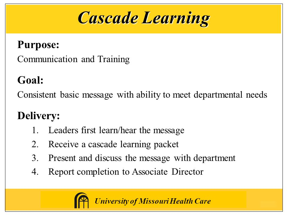 University of Missouri Health Care Purpose: Communication and Training Goal: Consistent basic message with ability to meet departmental needs Delivery: 1.Leaders first learn/hear the message 2.Receive a cascade learning packet 3.Present and discuss the message with department 4.Report completion to Associate Director Cascade Learning