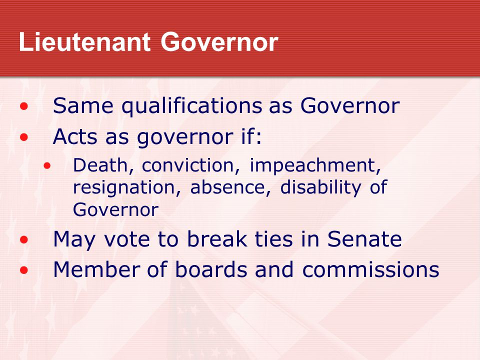 Lieutenant Governor Same qualifications as Governor Acts as governor if: Death, conviction, impeachment, resignation, absence, disability of Governor