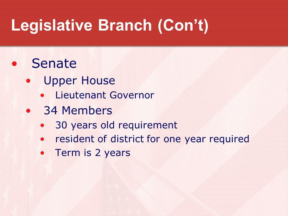 Legislative Branch (Con't) Senate Upper House Lieutenant Governor 34 Members 30 years old requirement resident of district for one year required Term is 2 years