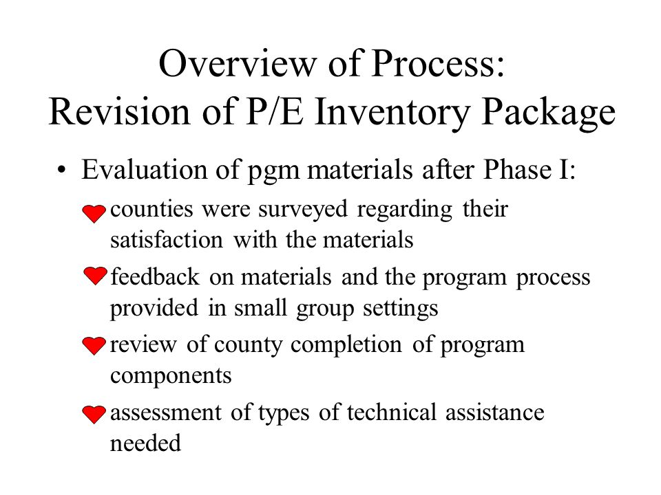 Overview of Process: Revision of P/E Inventory Package Evaluation of pgm materials after Phase I: –counties were surveyed regarding their satisfaction with the materials –feedback on materials and the program process provided in small group settings –review of county completion of program components –assessment of types of technical assistance needed