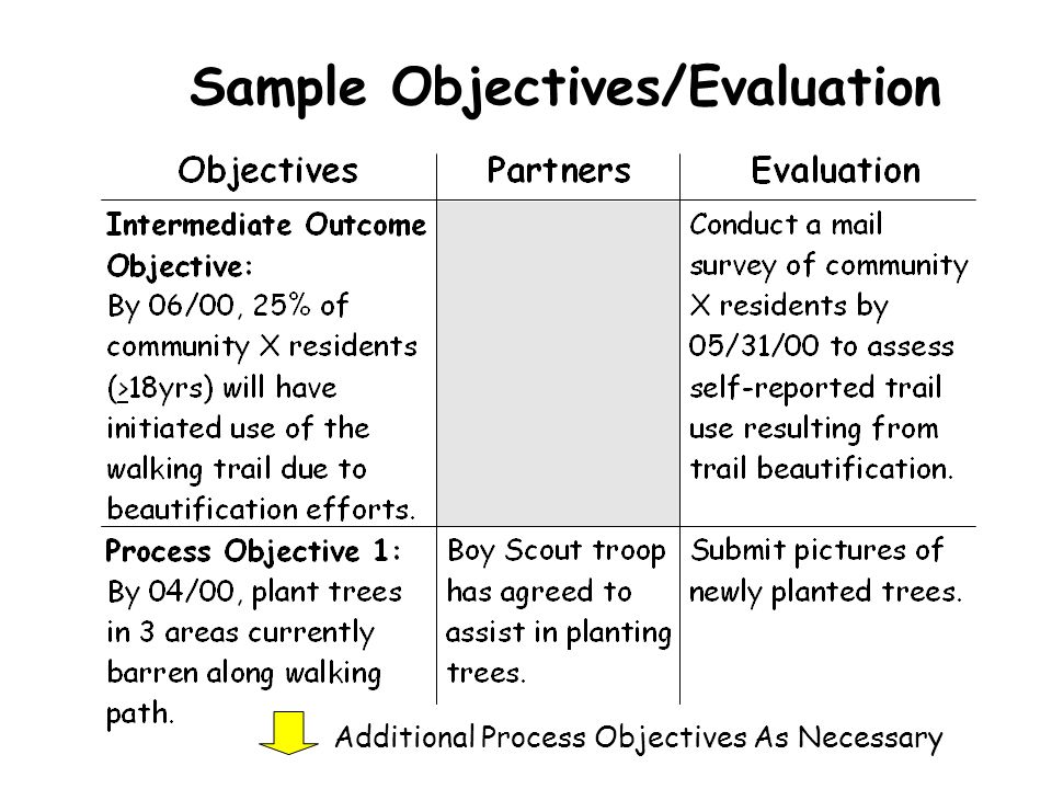 Sample Objectives/Evaluation Additional Process Objectives As Necessary