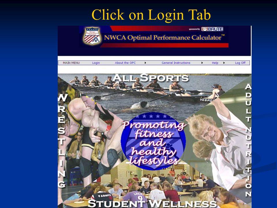 Click on Login Tab
