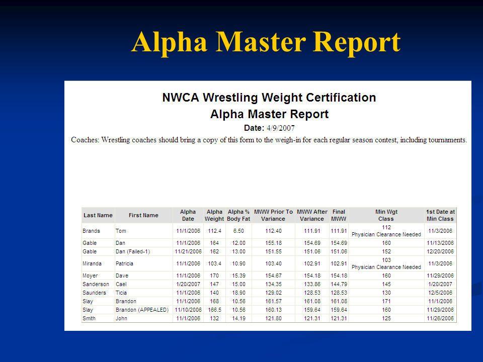 Alpha Master Report