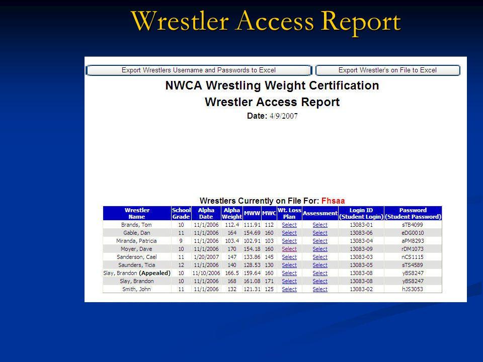 Wrestler Access Report
