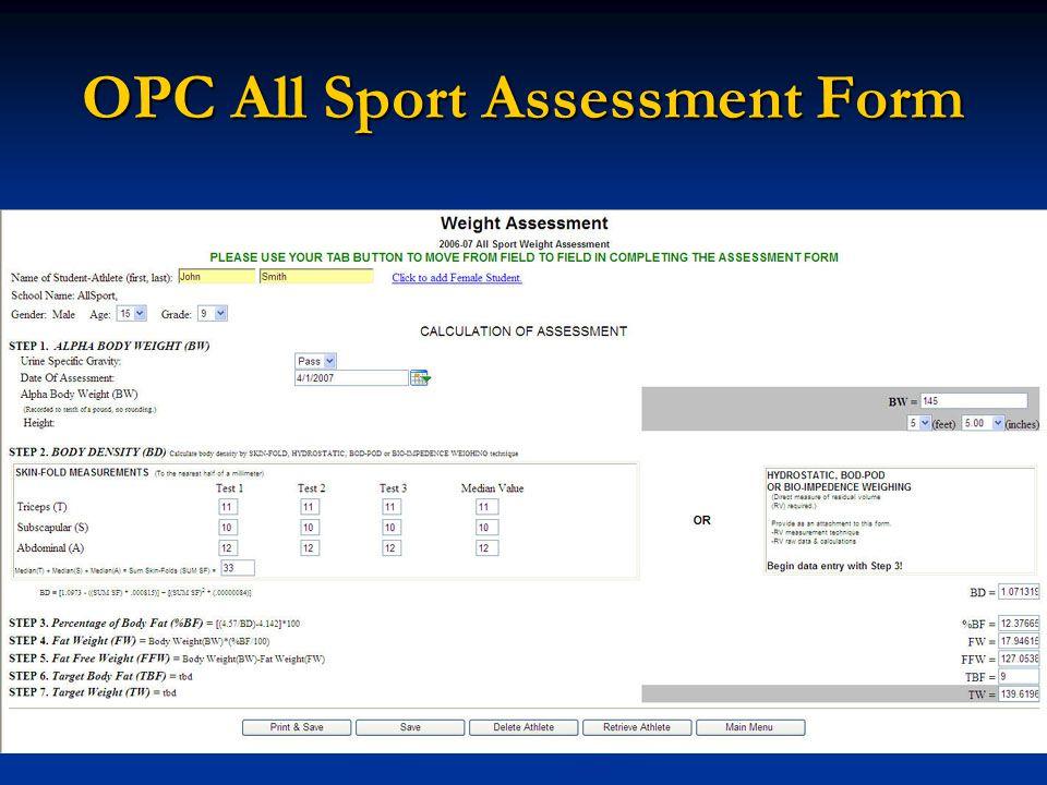 OPC All Sport Assessment Form