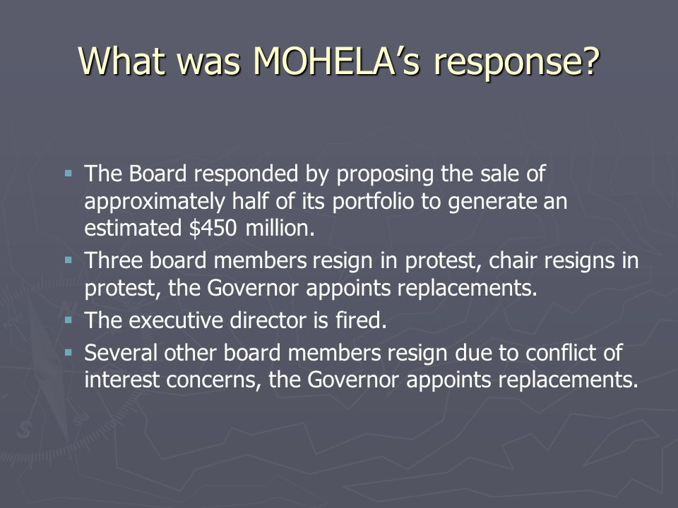 What was MOHELA's response.