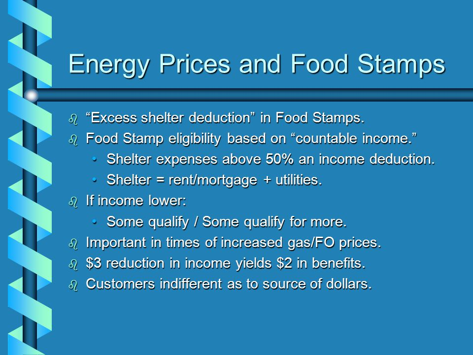Energy Prices and Food Stamps b Excess shelter deduction in Food Stamps.