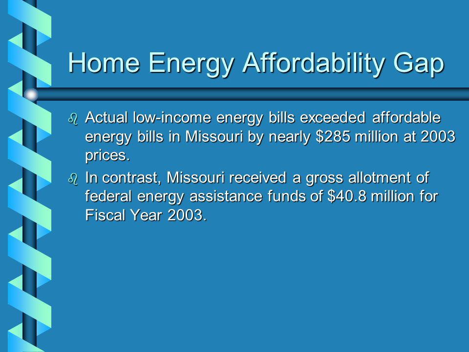 Home Energy Affordability Gap b Actual low-income energy bills exceeded affordable energy bills in Missouri by nearly $285 million at 2003 prices.