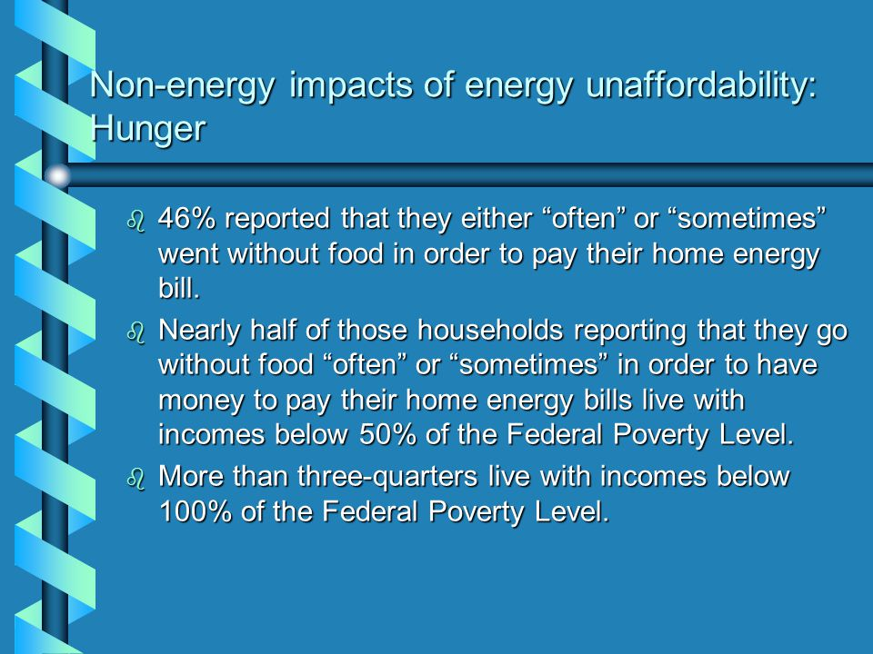 Non-energy impacts of energy unaffordability: Health care b 45% reported that they either often or sometimes did not take their medicine, or took their medicines in a dosage less than prescribed by their doctor, in order to pay their home energy bill.