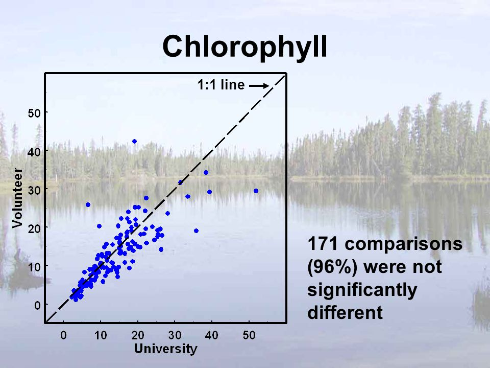Chlorophyll 171 comparisons (96%) were not significantly different 1:1 line