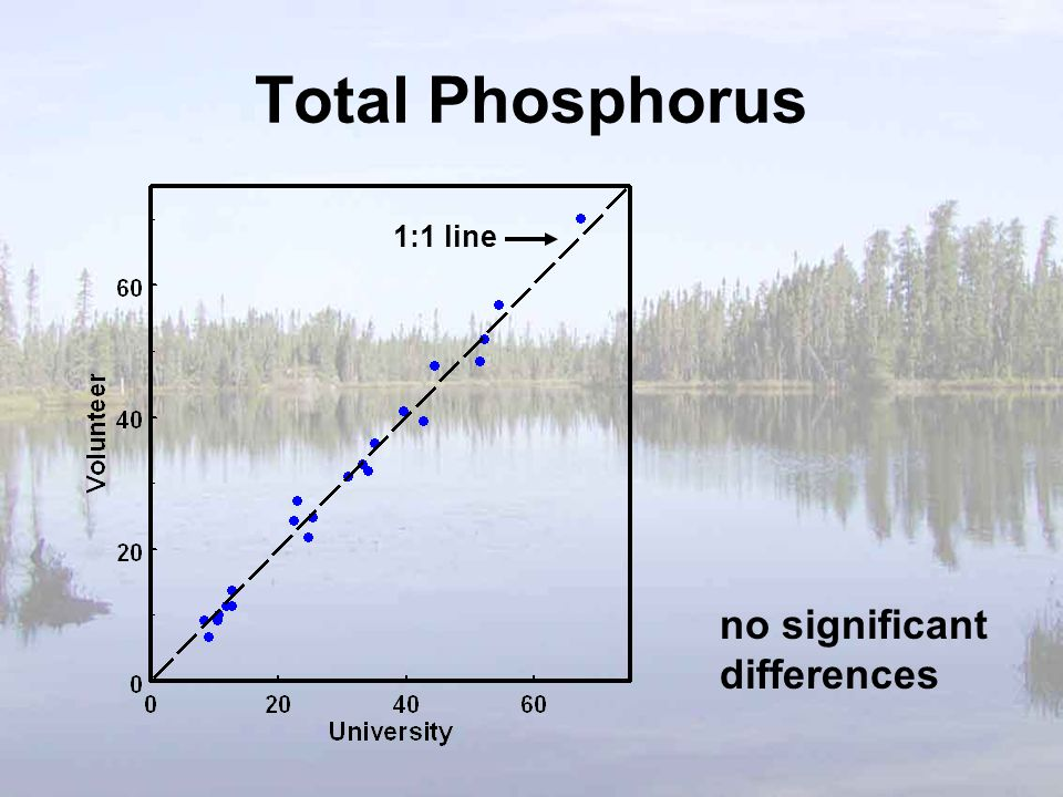 Total Phosphorus no significant differences 1:1 line