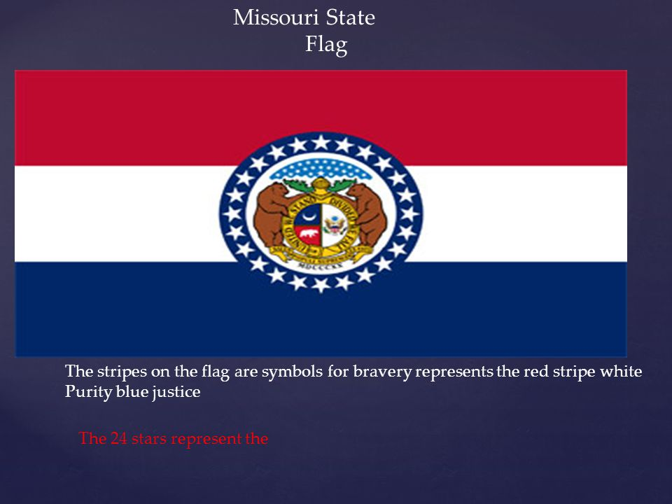 Missouri State Flag The stripes on the flag are symbols for bravery represents the red stripe white Purity blue justice The 24 stars represent the