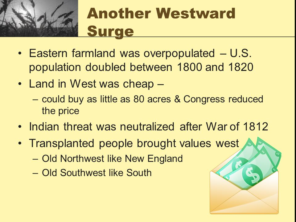 Another Westward Surge Eastern farmland was overpopulated – U.S.