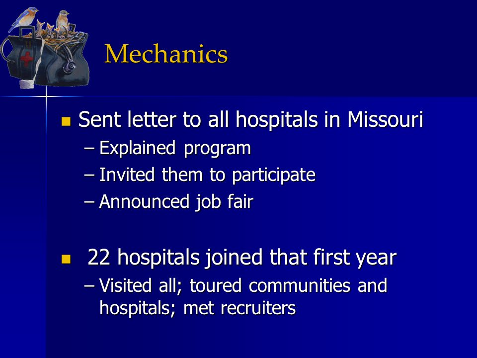 Mechanics Sent letter to all hospitals in Missouri Sent letter to all hospitals in Missouri –Explained program –Invited them to participate –Announced