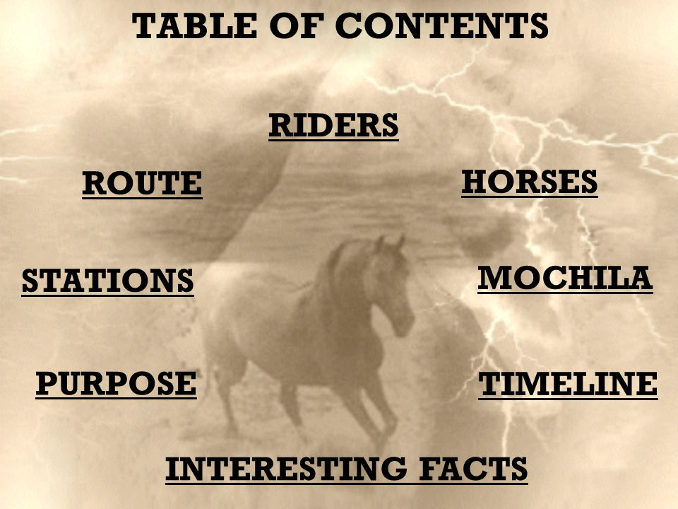 STATIONS PURPOSE HORSES ROUTE MOCHILA TIMELINE RIDERS INTERESTING FACTS TABLE OF CONTENTS