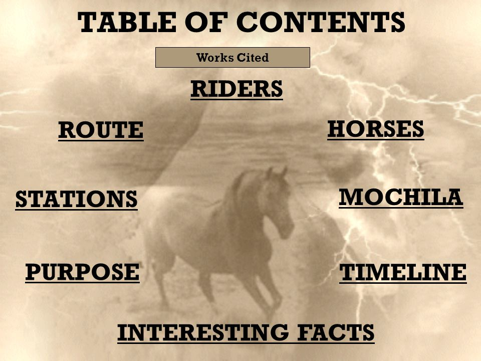 STATIONS PURPOSE HORSES ROUTE MOCHILA TIMELINE RIDERS INTERESTING FACTS TABLE OF CONTENTS Works Cited