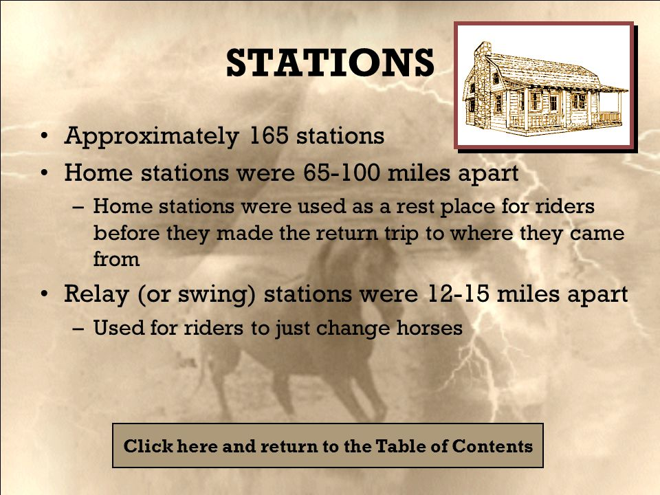 STATIONS Approximately 165 stations Home stations were 65-100 miles apart –Home stations were used as a rest place for riders before they made the return trip to where they came from Relay (or swing) stations were 12-15 miles apart –Used for riders to just change horses Click here and return to the Table of Contents