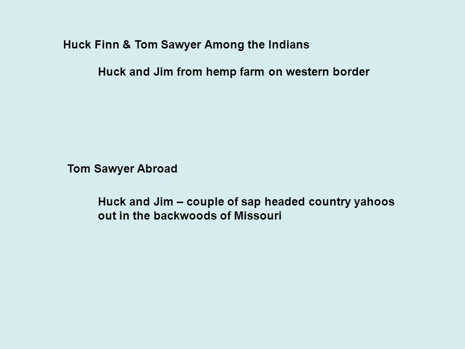 Huck Finn & Tom Sawyer Among the Indians Huck and Jim from hemp farm on western border Tom Sawyer Abroad Huck and Jim – couple of sap headed country yahoos out in the backwoods of Missouri