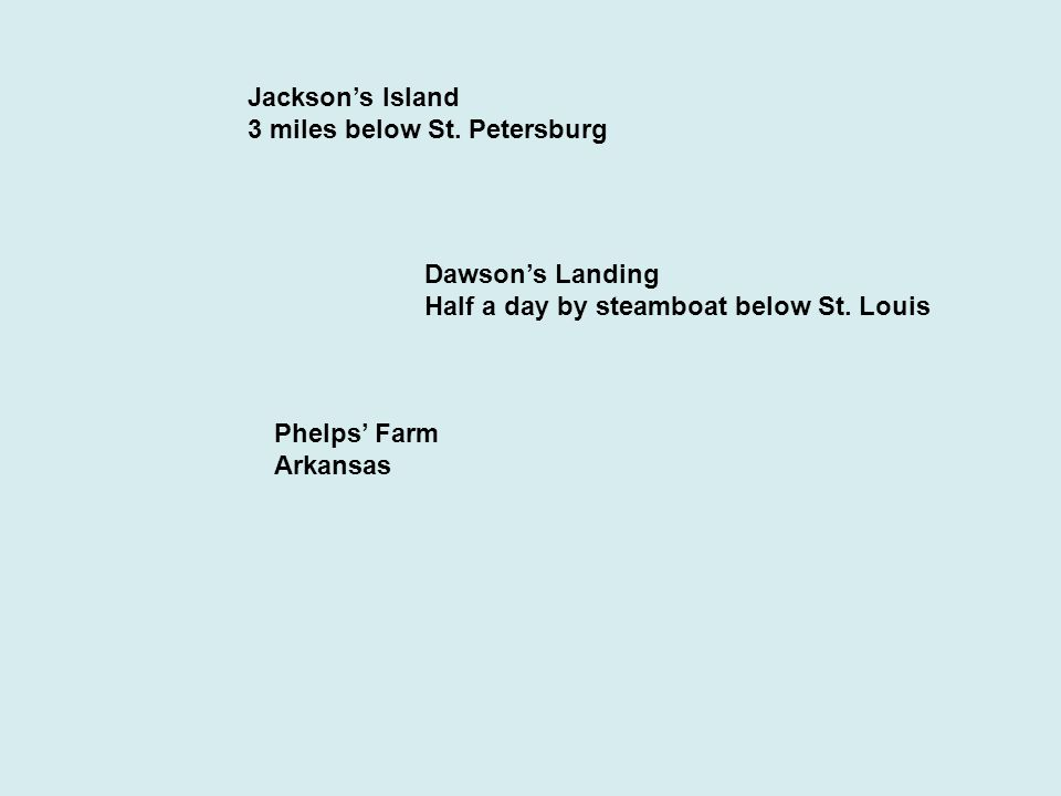 Jackson's Island 3 miles below St. Petersburg Dawson's Landing Half a day by steamboat below St.