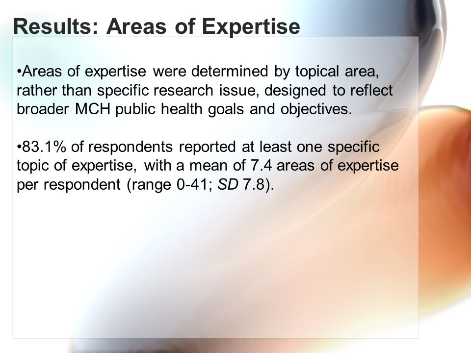 Results: Areas of Expertise Areas of expertise were determined by topical area, rather than specific research issue, designed to reflect broader MCH public health goals and objectives.