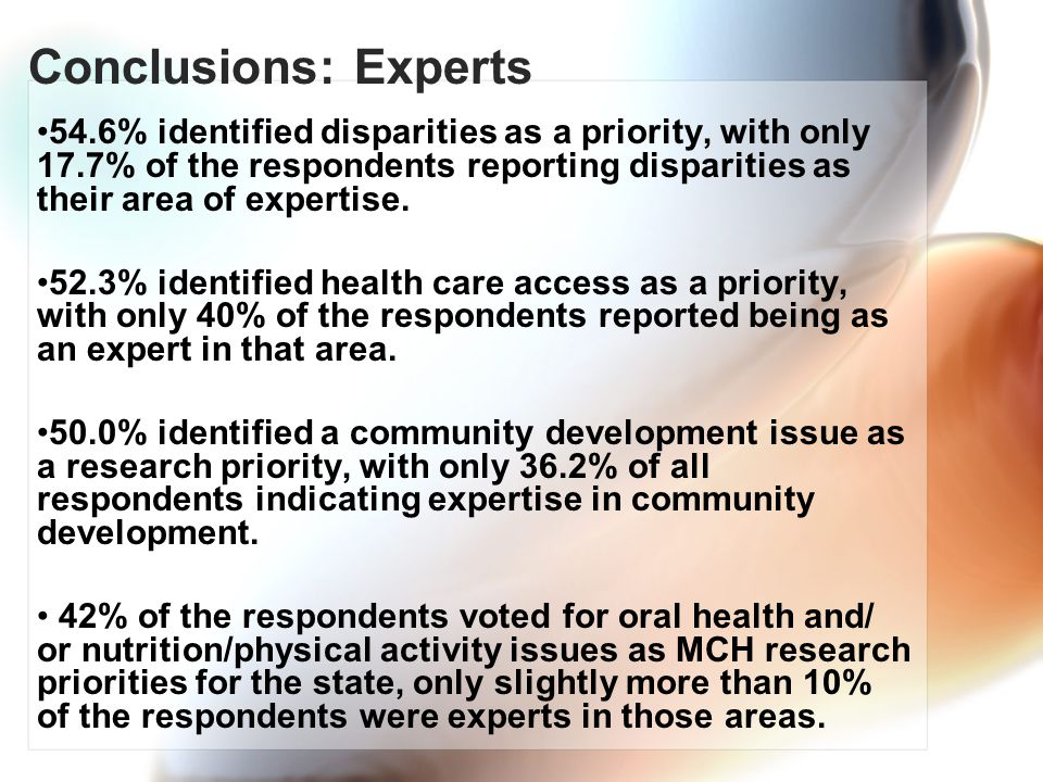Conclusions: Experts 54.6% identified disparities as a priority, with only 17.7% of the respondents reporting disparities as their area of expertise.