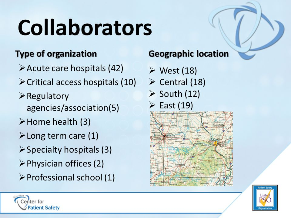 Collaborators Type of organization Geographic location  Acute care hospitals (42)  Critical access hospitals (10)  Regulatory agencies/association(5)  Home health (3)  Long term care (1)  Specialty hospitals (3)  Physician offices (2)  Professional school (1)  West (18)  Central (18)  South (12)  East (19)