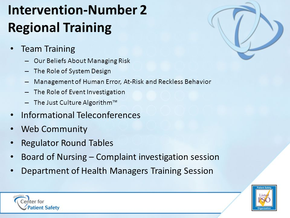 Intervention-Number 2 Regional Training Team Training – Our Beliefs About Managing Risk – The Role of System Design – Management of Human Error, At-Ri