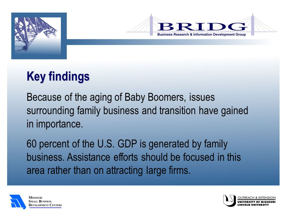 Key findings Because of the aging of Baby Boomers, issues surrounding family business and transition have gained in importance.