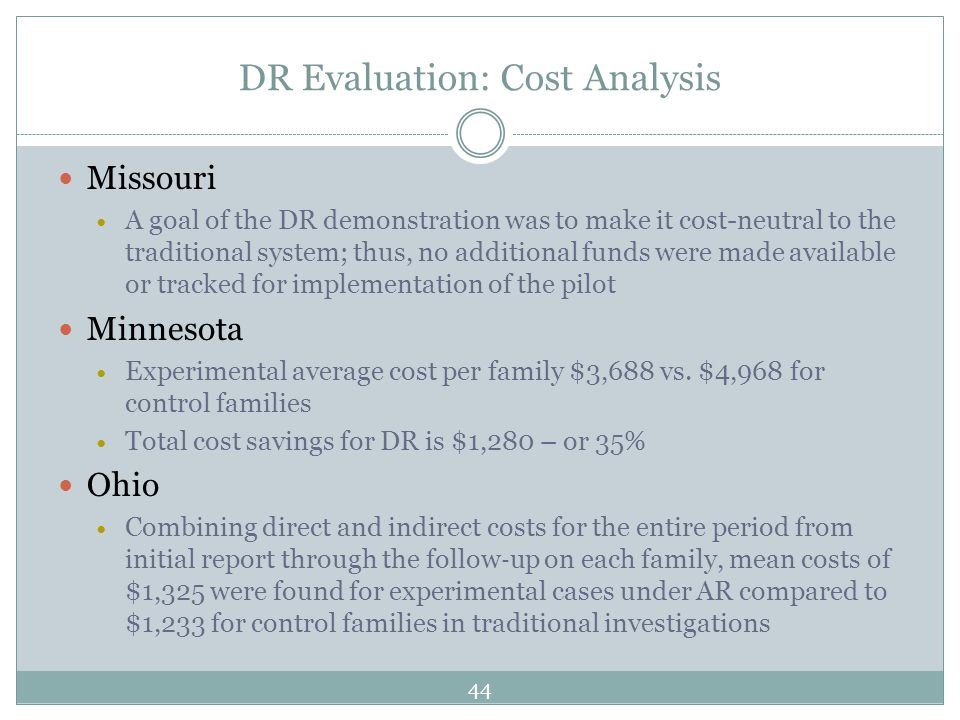 DR Evaluation: Cost Analysis Missouri A goal of the DR demonstration was to make it cost-neutral to the traditional system; thus, no additional funds were made available or tracked for implementation of the pilot Minnesota Experimental average cost per family $3,688 vs.