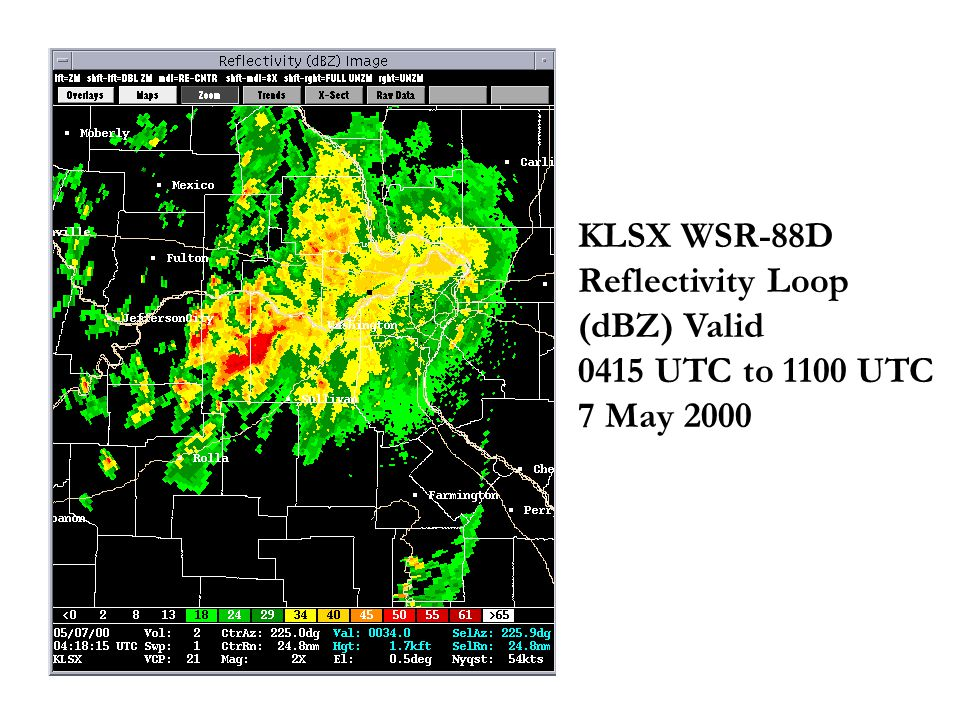 KLSX WSR-88D Reflectivity Loop (dBZ) Valid 0415 UTC to 1100 UTC 7 May 2000